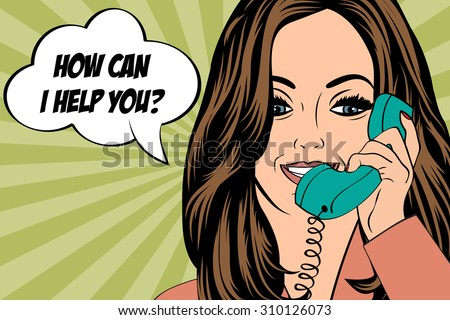 sexy beautiful woman chatting on the retro phone, vector illustration - stock vector