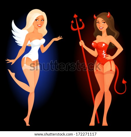 sexy cartoon pin up girl in angel or devil costume - stock vector