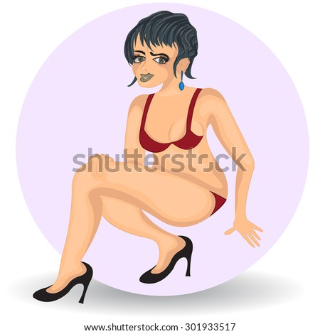 sexy dark haired woman - stock vector