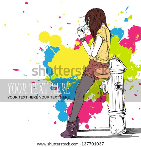 Sexy girl and fire hydrant in sketch-style on a street-cafe background. Vector illustration - stock vector