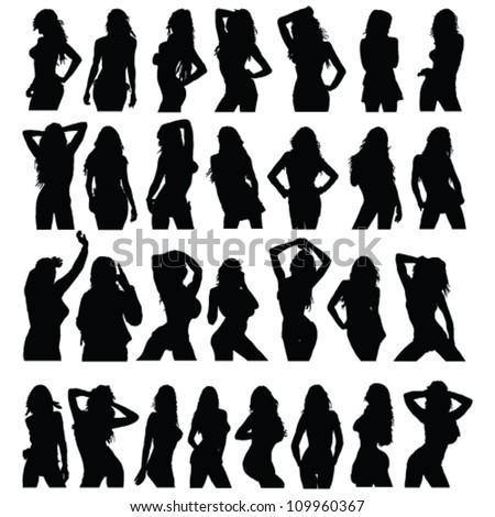 sexy girl black silhouette set vector on white - stock vector