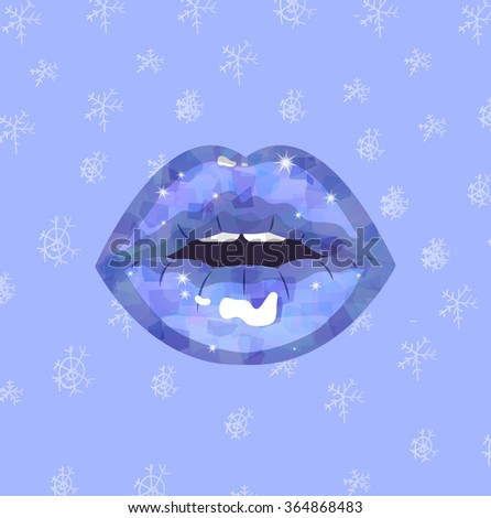 Sexy ice winter passion lips, shining lipstick, erotic open mouth, snowflakes background, Snow Queen Kiss - stock vector