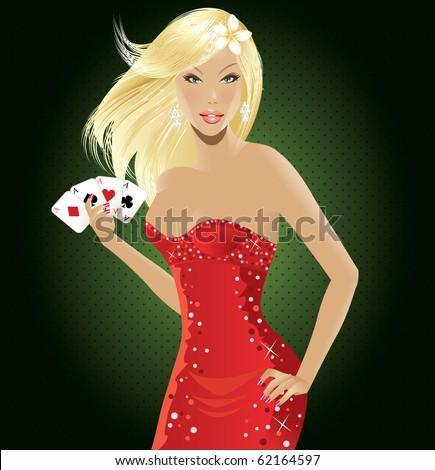 Sexy poker woman - stock vector