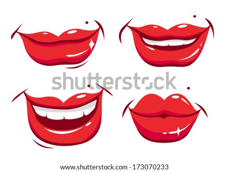 Sexy smiling female lips in various expressions vector set - stock vector