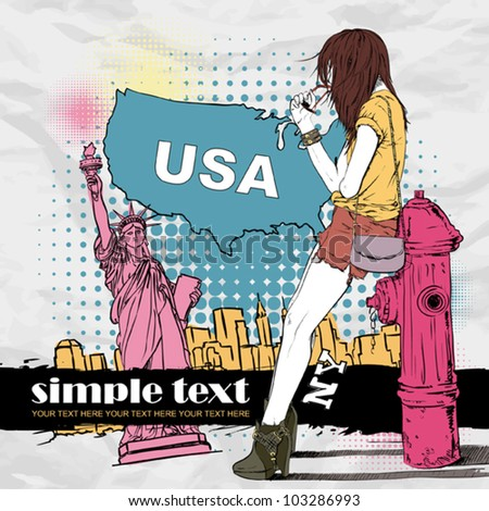 Sexy summer girl and fire hydrant  in sketch-style on a usa background. Vector illustration - stock vector