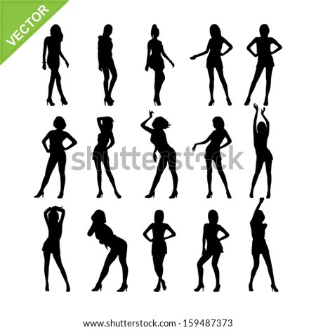 Sexy women and model posing silhouettes vector set 7 - stock vector