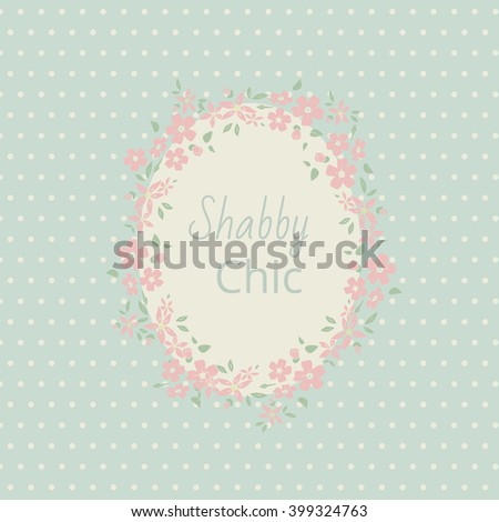 Shabby chic. Elegant vintage background peas and frame flowers. For a wedding or a holiday with space for text - stock vector