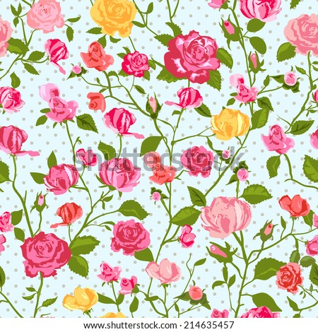 Shabby Chic Rose Pattern and seamless background. Ideal for printing onto fabric and paper or scrap booking. Cottage chic style. - stock vector