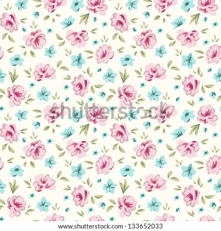 Shabby chic rose pattern. Floral seamless background for your design and scrapbooking. - stock vector