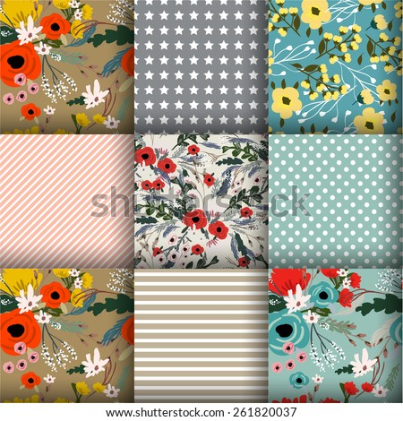 Shabby Chic Rose Patterns and seamless backgrounds. Ideal for printing onto fabric and paper or scrap booking. - stock vector