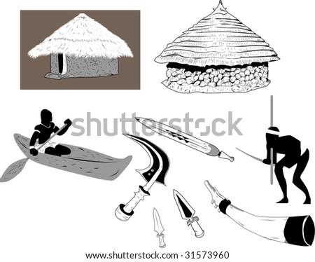 Shacks and objects used in the old africa - stock vector