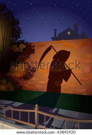 shade on a stone wall from an invisible figure going on sidewalk - stock vector