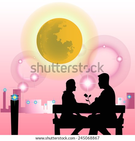 Shadow couple sit in the garden in pink background. - stock vector