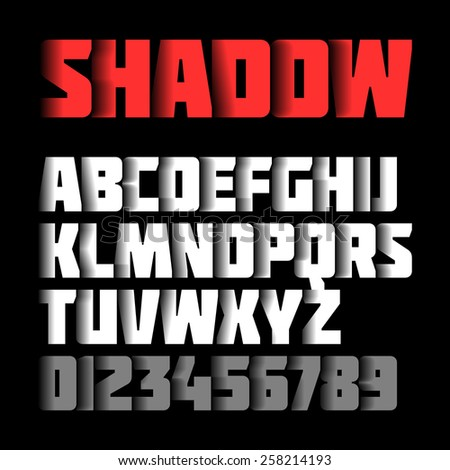 Shadow font, alphabet and numbers. Vector. - stock vector