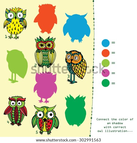 Shadow game - connect the color with appropriate owl illustration - stock vector