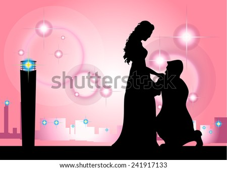 Shadow Man kissing woman's hand in the city in Pink backdrop. - stock vector