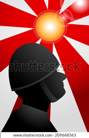 shadow soldier on red rising sun - stock vector