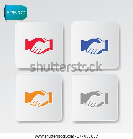 Shake hands buttons,vector - stock vector