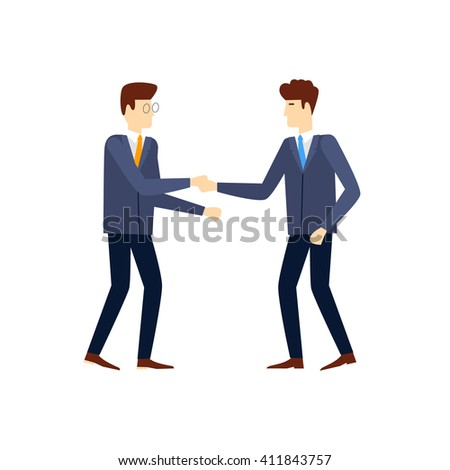 Shaking hands happy standing negotiating, on an isolated background. Flat design vector illustration. - stock vector