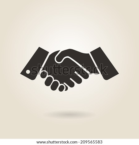 shaking hands on a light background - stock vector