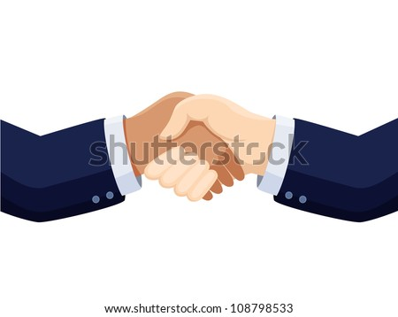 shaking hands vector isolated on white - stock vector
