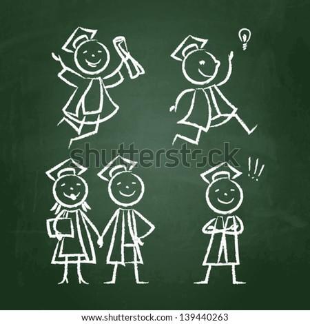 Shalk drawn doodle set of graduates - stock vector