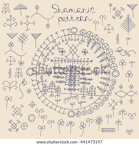 shamanic etnos pattern elements/shamanic pattern elements - stock vector