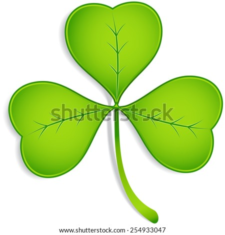 Shamrock - Realistic vector three-leaf clover with shadow.  Elements are grouped separately, and file is layered for easy editing.  Colored with global swatches, so file can be recolored easily.   - stock vector