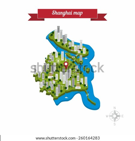 Shanghai, China map. Flat style design - vector - stock vector