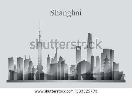 Shanghai city skyline silhouette in grayscale, vector illustration - stock vector