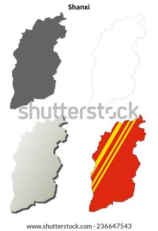 Shanxi blank outline map set - stock vector