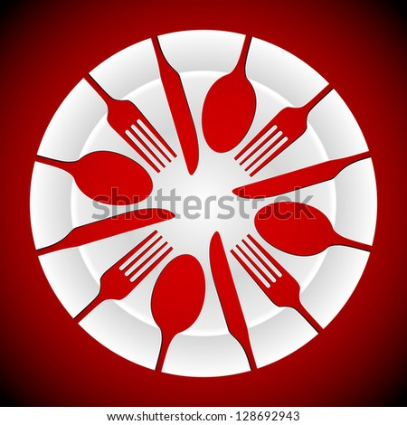 shapes of cutlery including knife, fork and spoon, cut out of a china plate. AI10 EPS has gradients for plates and background - stock vector