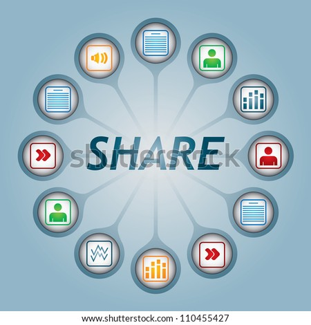 Share sign with document icons - communication concept - stock vector
