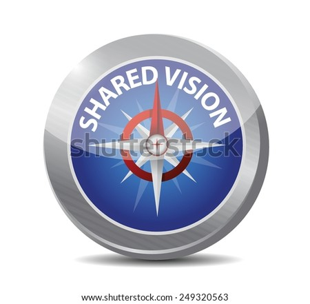 shared vision compass guide illustration design over a white background - stock vector