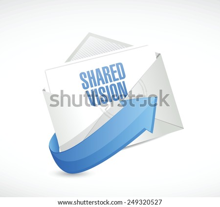 shared vision email message illustration design over a white background - stock vector