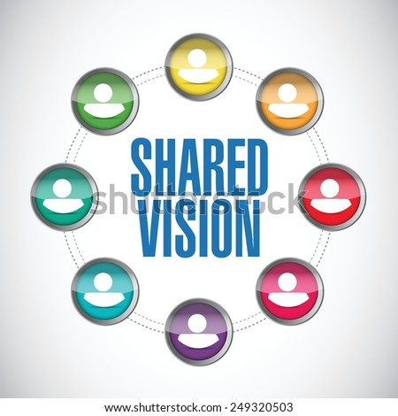 shared vision people diversity illustration design over a white background - stock vector
