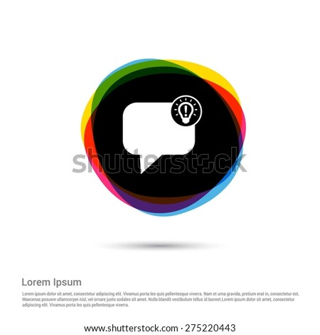 Sharing new idea light bulb with speech bubble icon, White pictogram icon creative circle Multicolor background. Vector illustration. Flat icon design style - stock vector