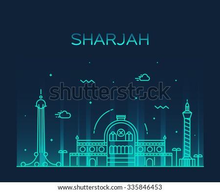 Sharjah skyline, detailed silhouette. Trendy vector illustration ...