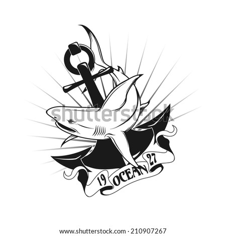 Shark and anchor. Vector illustration. - stock vector