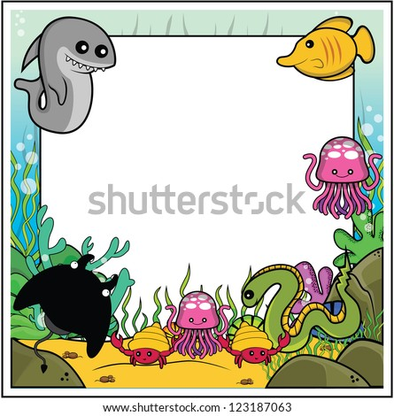 shark, butterflyfish, jellyfish, electric eel, manta ray, sea snail frame with underwater - stock vector