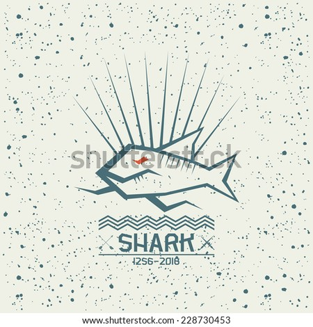 Shark emblem in geometric lines style on a textured background - stock vector