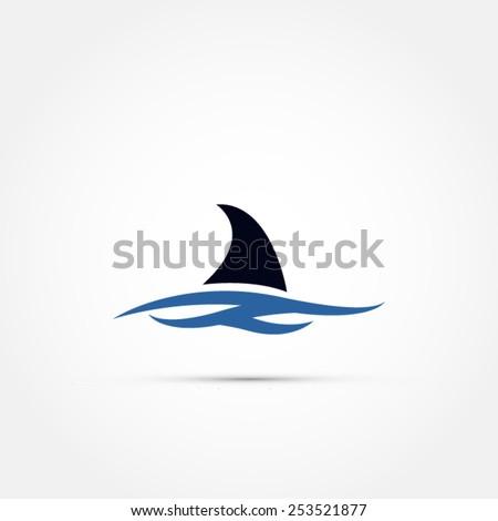 Shark fin icon - stock vector