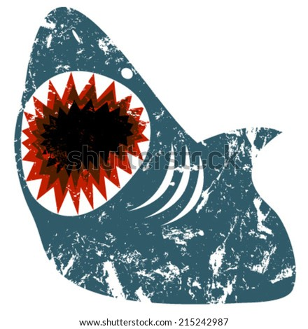 shark grunge - stock vector