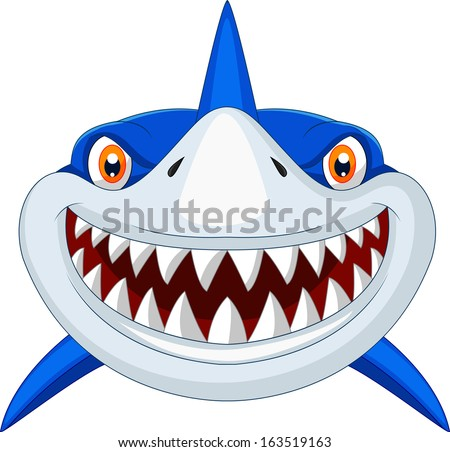 Shark head cartoon - stock vector