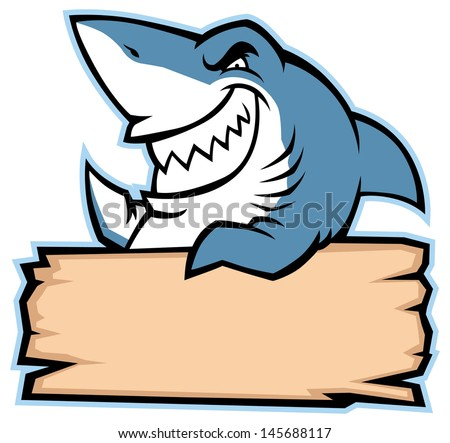 shark hold wood sign - stock vector