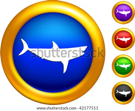 shark icon on buttons with golden borders - stock vector