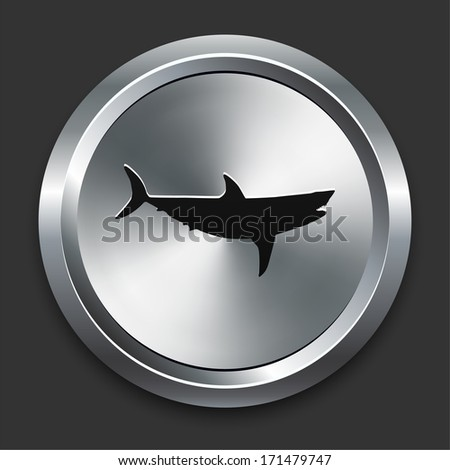 Shark Icon on Metallic Button Collection - stock vector
