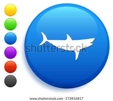 Shark Icon on Round Button Collection - stock vector