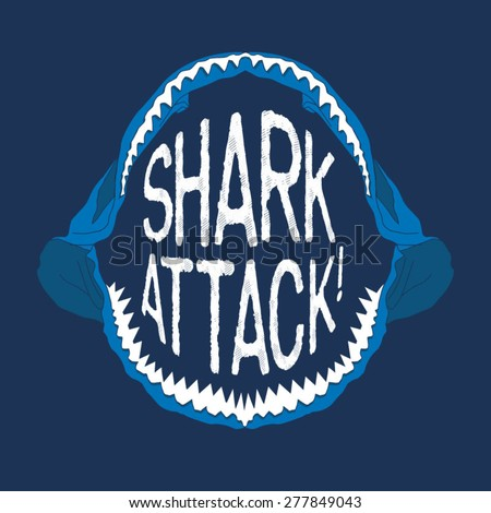 Shark mouth illustration, typography, t-shirt graphics, vectors - stock vector
