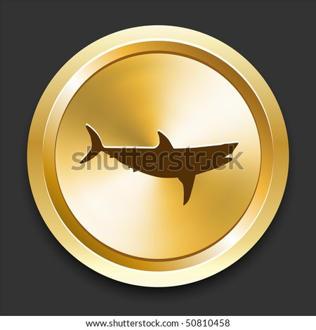 Shark on Golden Internet Button Original Illustration - stock vector